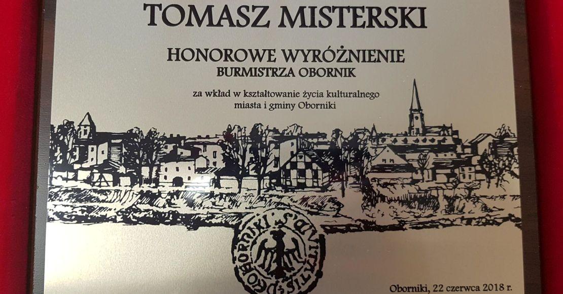 Honorowe wyróżnienie Burmistrza Obornik dla Tomasza Misterskiego (film)