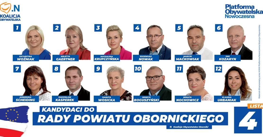 KW Koalicja Obywatelska z Katarzyną Woźniak do Rady Powiatu Obornickiego