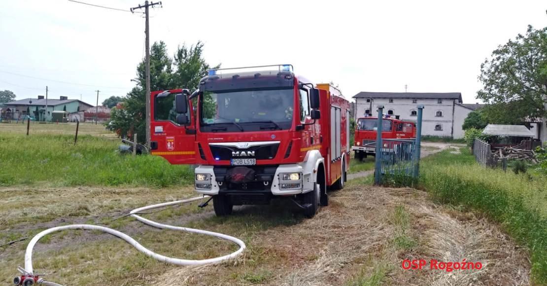 Pożar prasy rolniczej w Cieślach