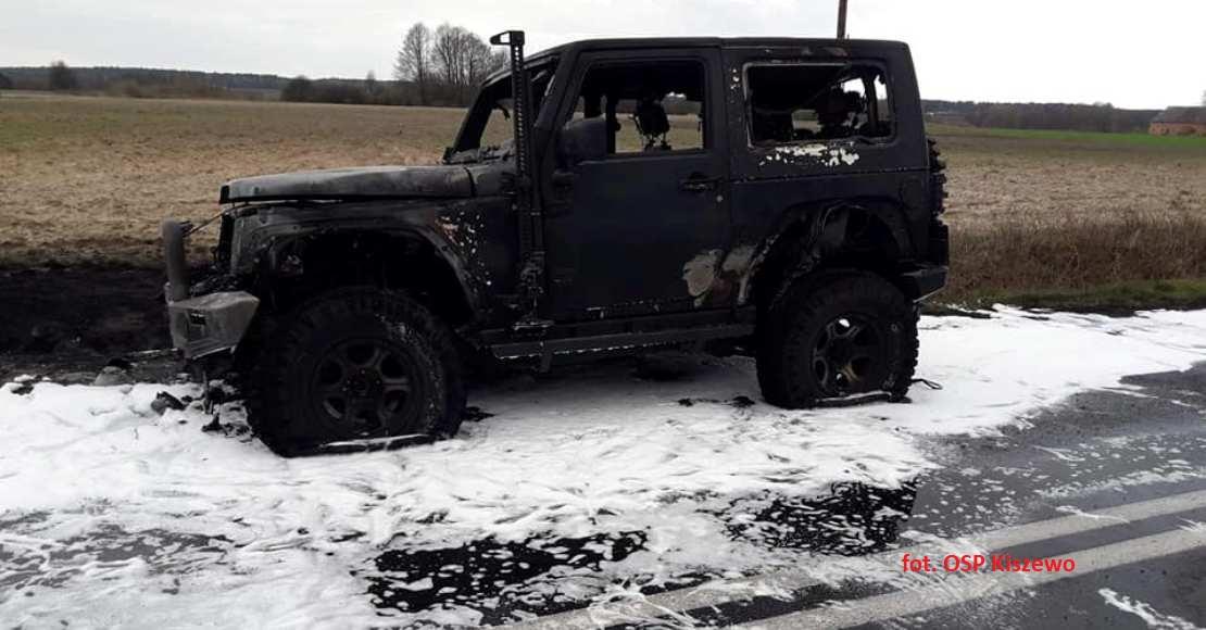 Pożar samochodu w Kiszewku